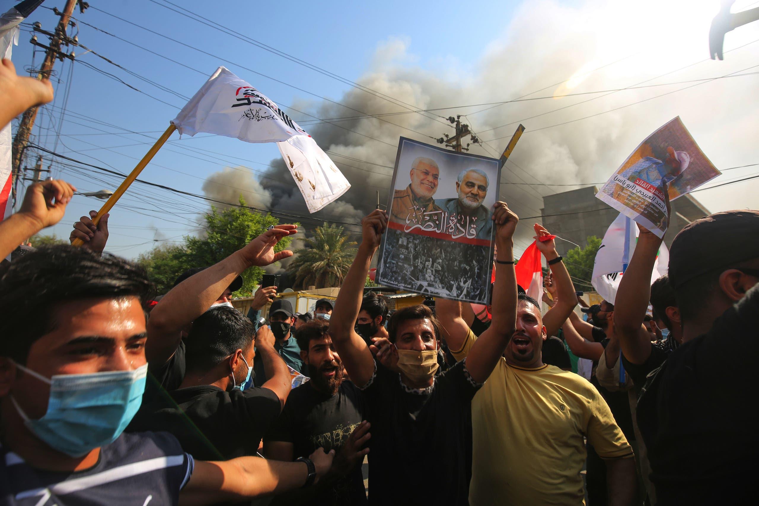 من محيط مقر الحزب الديمقراطي الكردستاني في بغداد (17 أكتوبر 2020- فرانس برس)