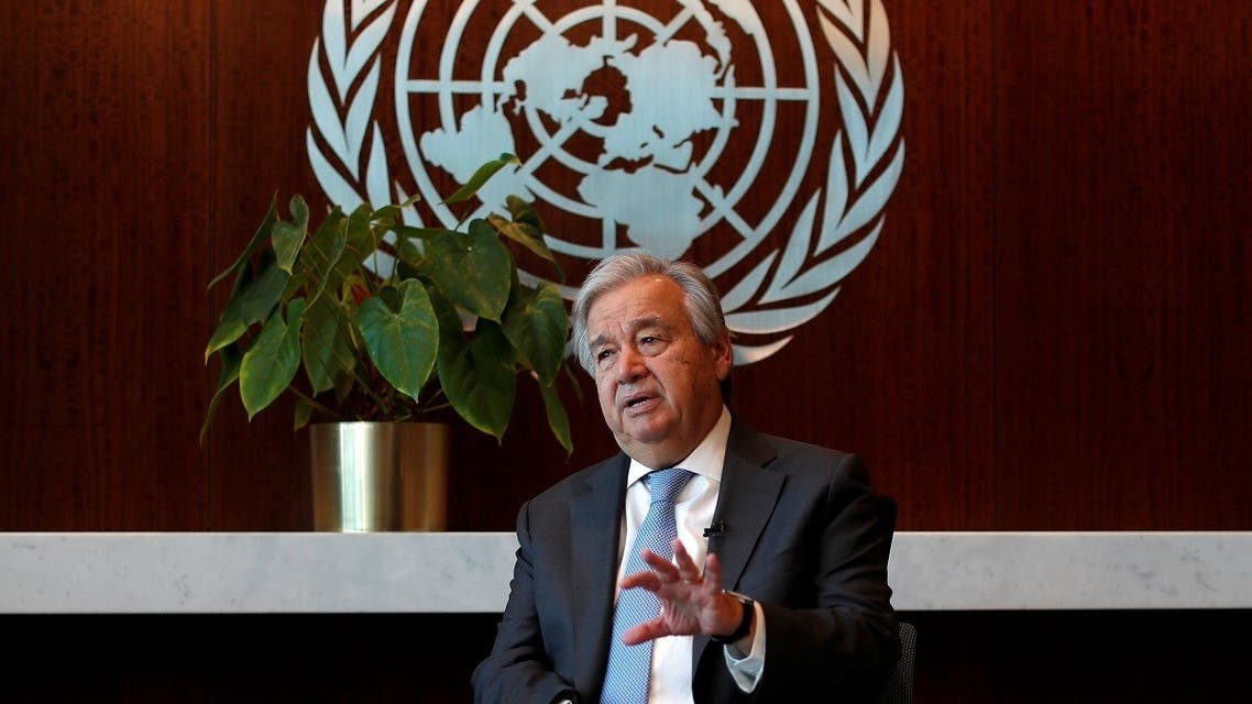 United Nations Secretary-General Antonio Guterres speaks during an interview with Reuters at UN headquarters in New York City, New York, US, September 14, 2020. (Reuters/Mike Segar)