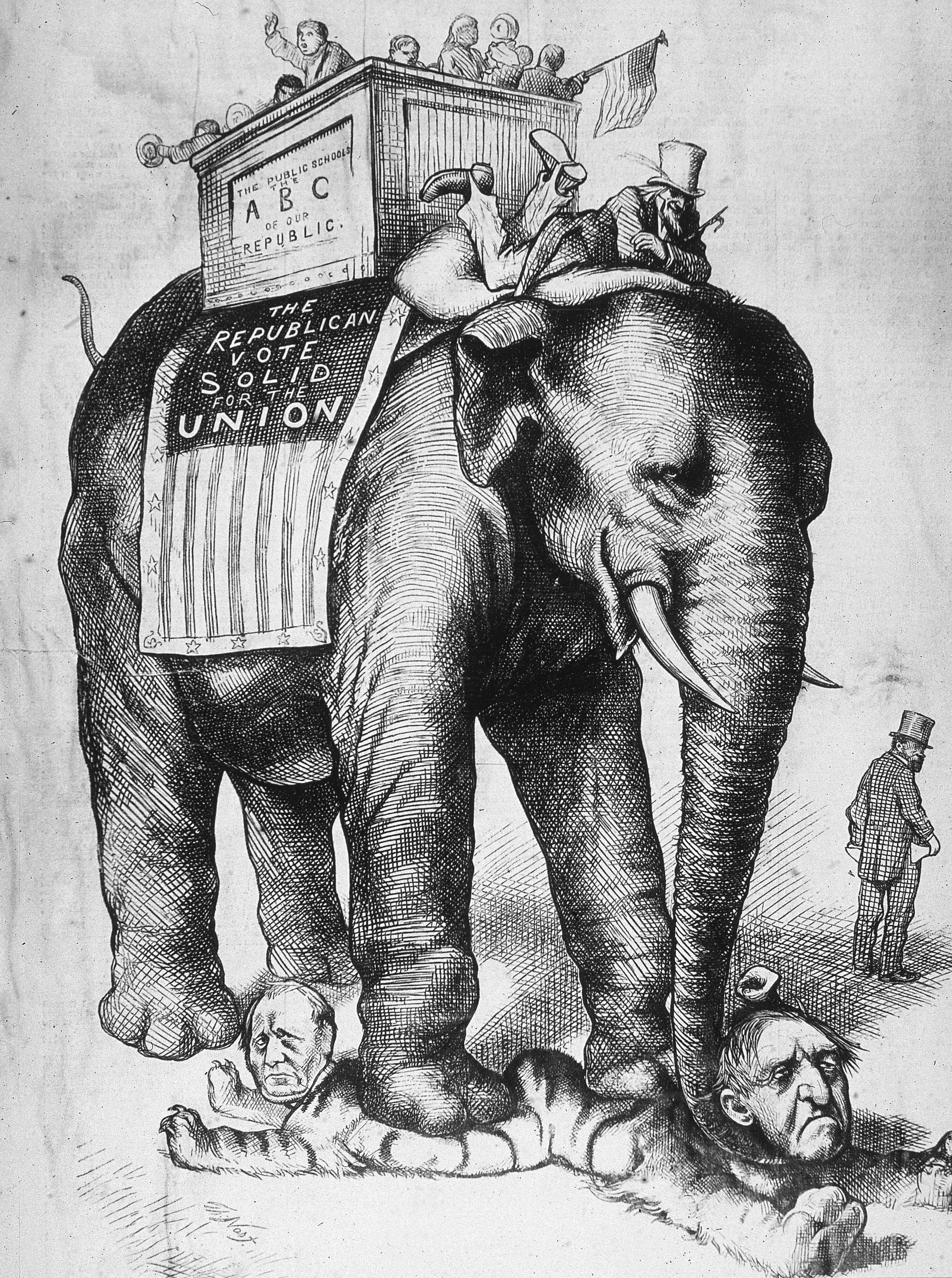 العم سام ممتطيا الفيل الجمهوري الذي يدوس بقدميه على عدد من السياسيين الديمقراطيين