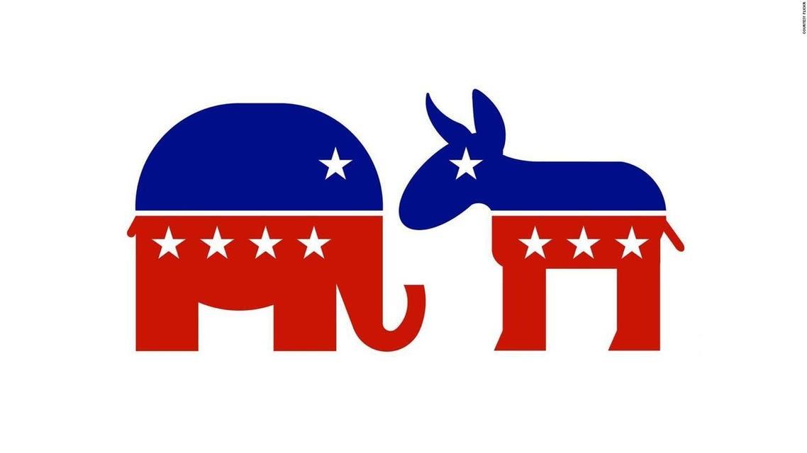 رسم يجسد الفيل الجمهوري وجها لوجه مع الحمار الديمقراطي
