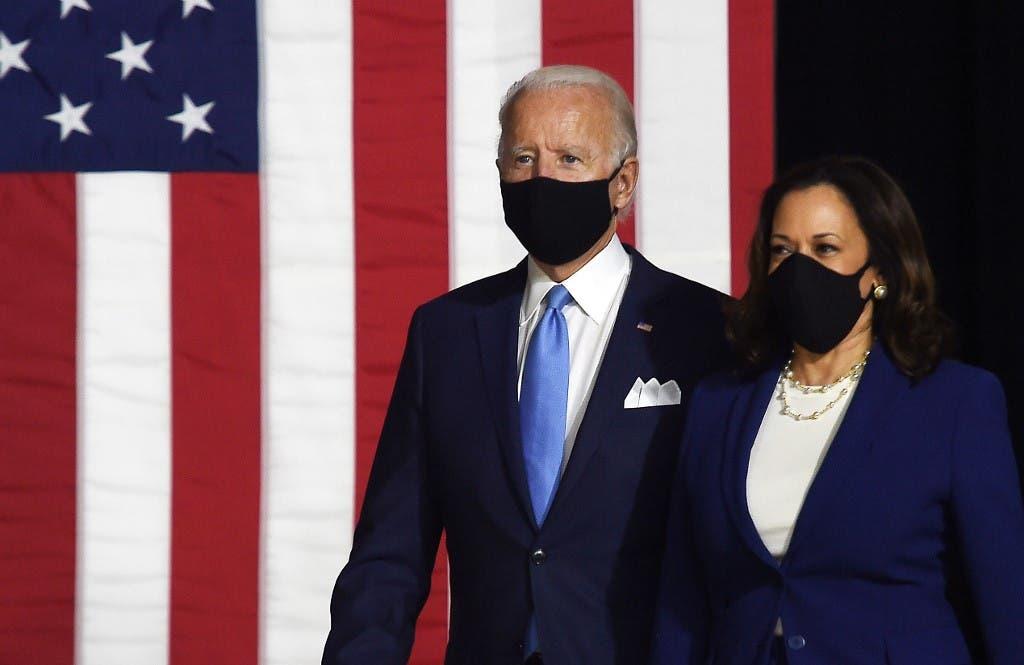 Democratic presidential nominee and former US Vice President Joe Biden (L) and vice presidential running mate, US Senator Kamala Harris, in Wilmington, Delaware, on August 12, 2020. (AFP)