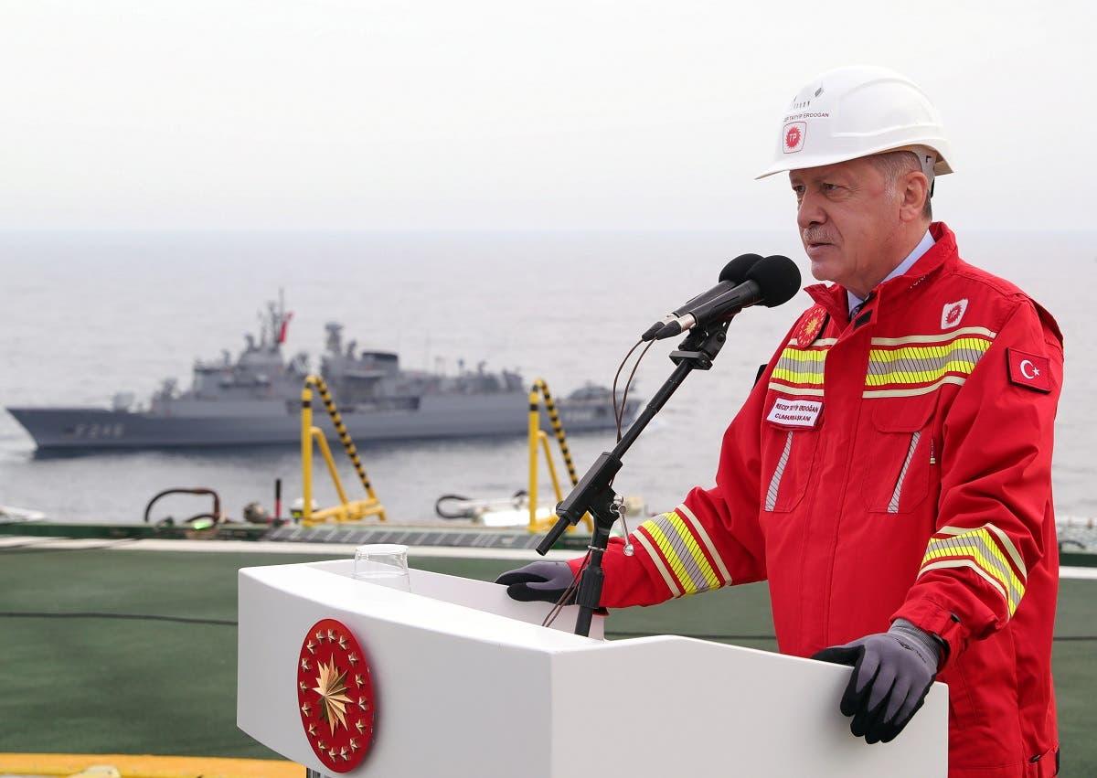 Turkish President Erdogan visits drilling vessel Fatih off Black Sea city of Zonguldak. (Reuters)
