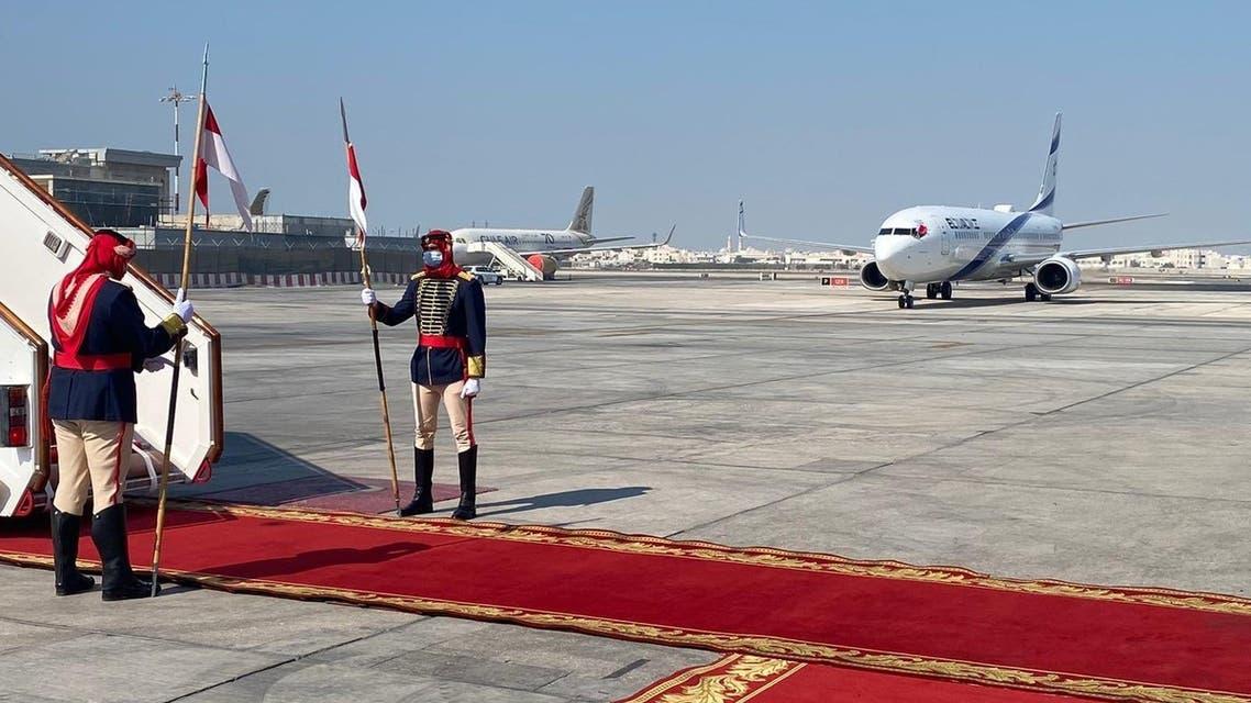 El Al flight 973 arrives in Bahrain. (Twitter)