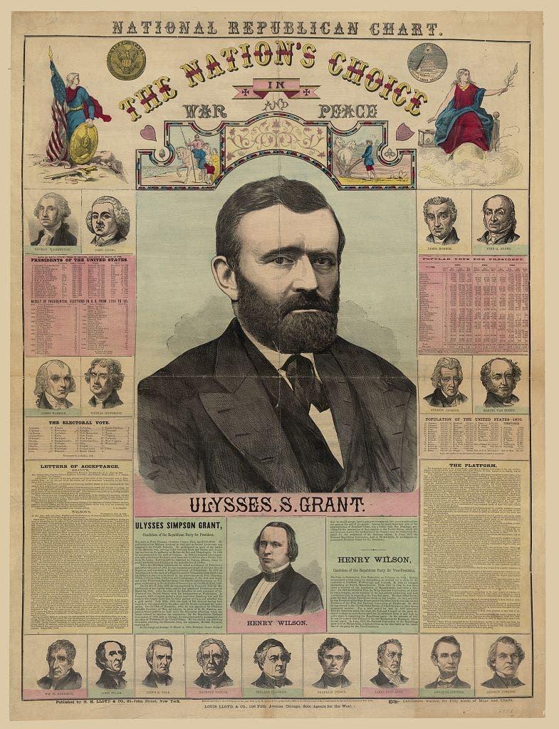 ملصق تتوسطه صورة المرشح الفائز يوليسيس غرانت