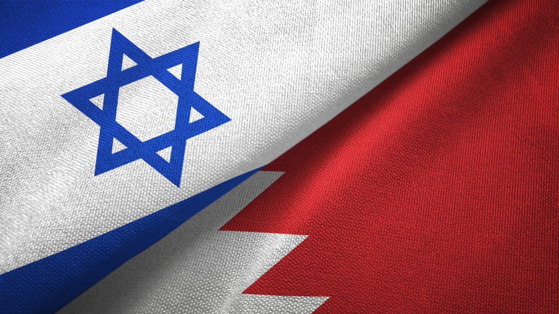 Bahrain and Israel two flags together textile cloth, fabric texture stock photo
