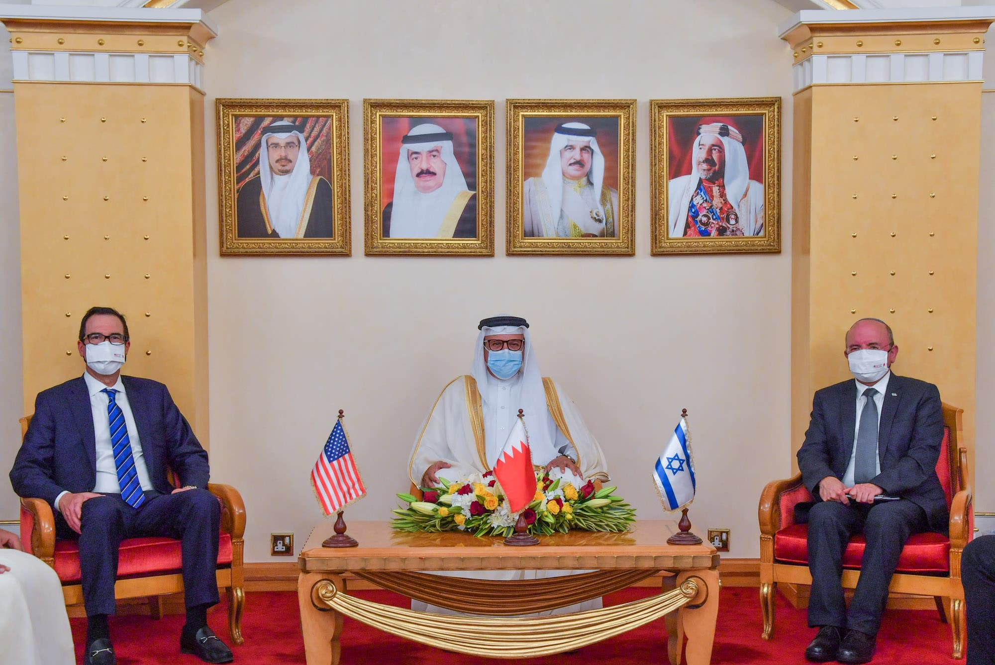 US Treasury Secretary Steven Mnuchin, left, with Bahrain's Foreign Minister Abdullatif Al Zayani, and Israeli National Security Council head Meir Ben-Shabbat. (Twitter/@bahdiplomatic)