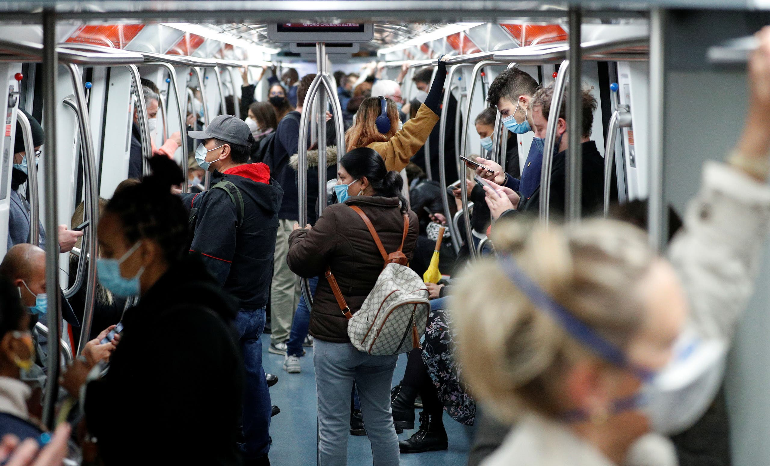 Passengers travel on a subway as Italy adopts new restrictions in Rome. (File photo: Reuters)