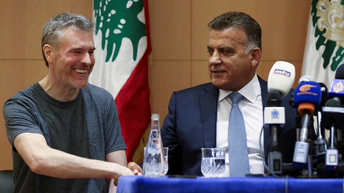Canadian citizen, Kristian Lee Baxter, who was being held in Syria, shakes hands with Major General Abbas Ibrahim, in Beirut, Aug. 9, 2019. (Reuters)