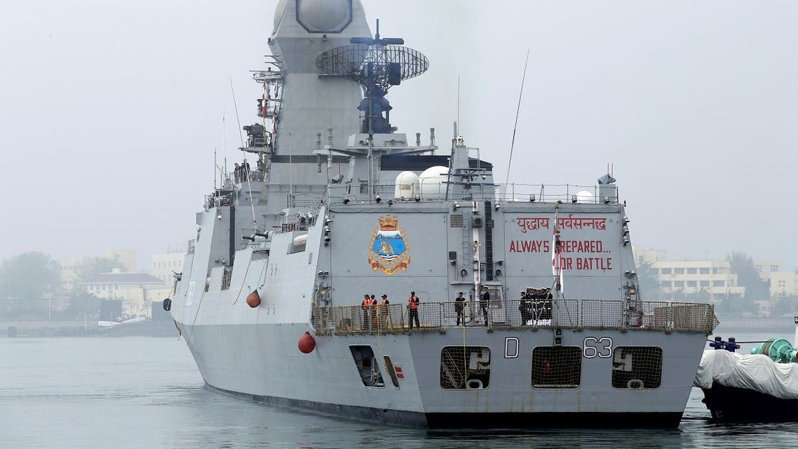 An Indian navy commissioned warship INS Kolkata arrives at Qingdao Port for the 70th anniversary celebrations of the founding of the Chinese People's Liberation Army Navy (PLAN), in Qingdao, China April 21, 2019. (Reuters)