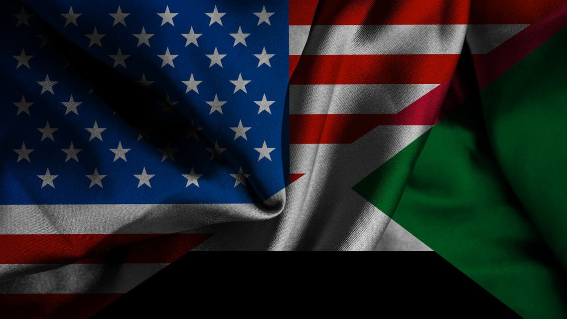 Sudan and United States two flags together textile cloth, fabric texture stock photo