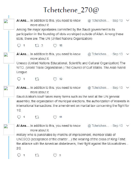 A screenshot of a PDF document showing translations of the tweets allegedly made by the Tchetchene_270 Twitter account, which belonged to Abdullakh Anzorov, the killer of French teacher Samuel Paty. (Screengrab)