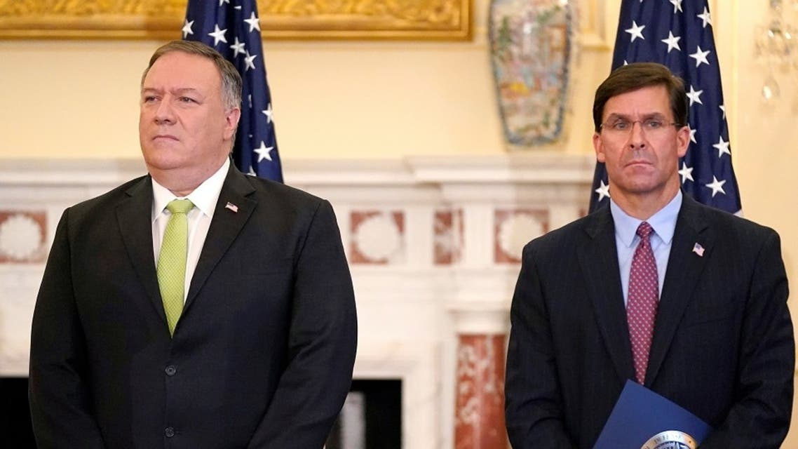 US Secretary of State Mike Pompeo and Defense Secretary Mark Esper at a news conference in Washington, Sept. 21, 2020. (Reuters)