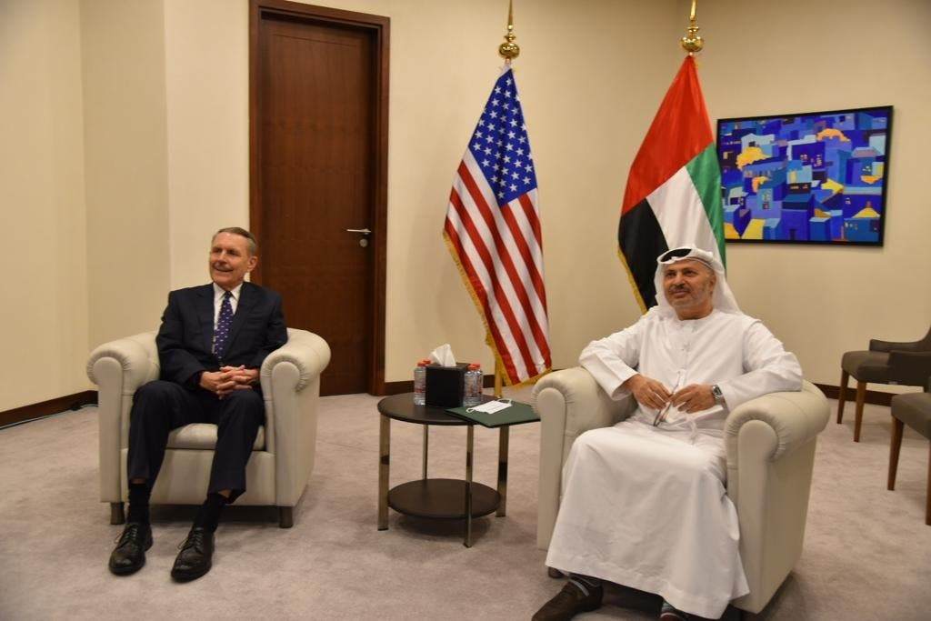 US Ambassador to the UAE John Rakolta, left, with UAE Minister of State for Foreign Affairs Anwar Gargash, right. (Twitter/USAinUAE)