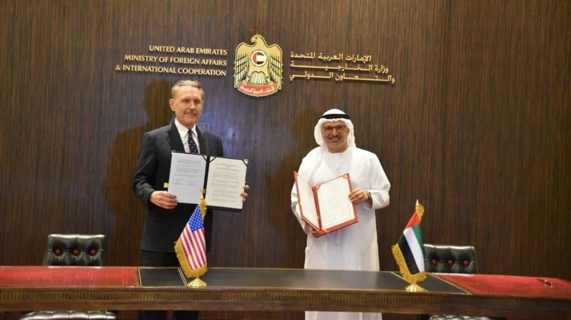 US Ambassador to the UAE John Rakolta Jr., left, with UAE Minister of State for Foreign Affairs Anwar Gargash. (Twitter/USAinUAE)