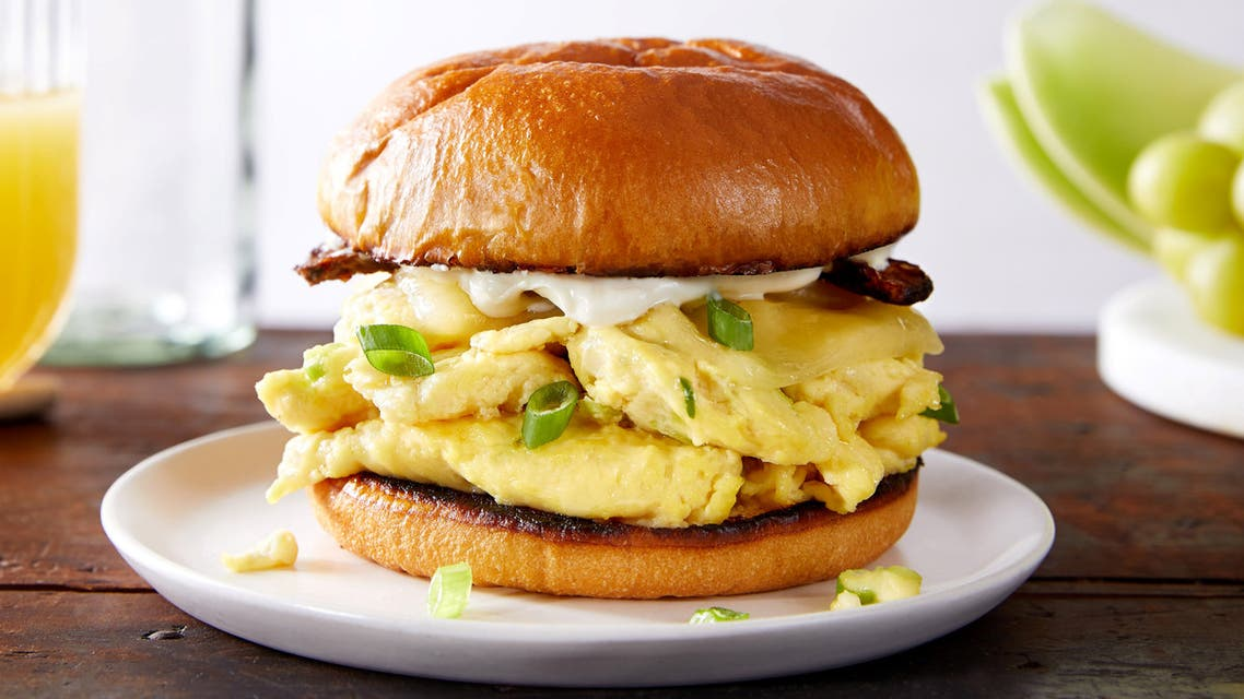 JUST Egg, a scrambled egg imitation made from mung beans by plant-based food startup JUST, is displayed in a burger bun in this handout illustration taken June 28, 2019. (File photo: Reuters)