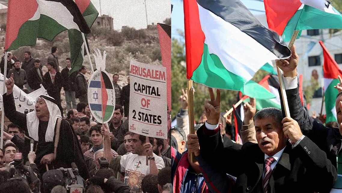 Palestinians demonstrating in East Jerusalem in 1997, left and Palestinians demonstrating in Gaza City in 2020, right. (AP)