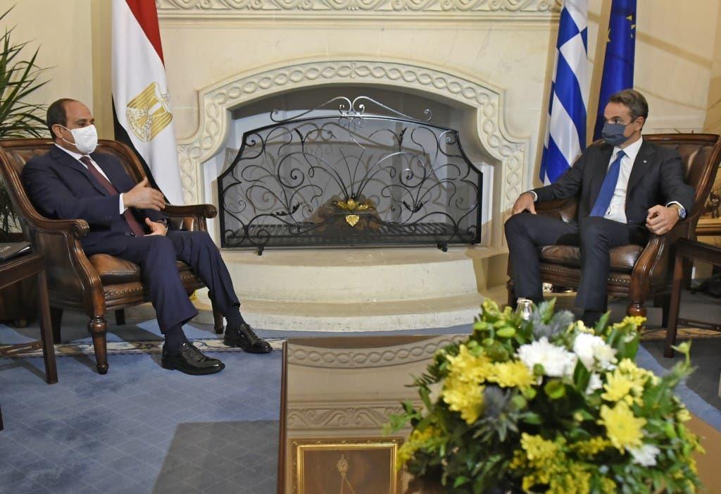 رئيس وزراء اليونان والرئيس المصري في قمة قبرص