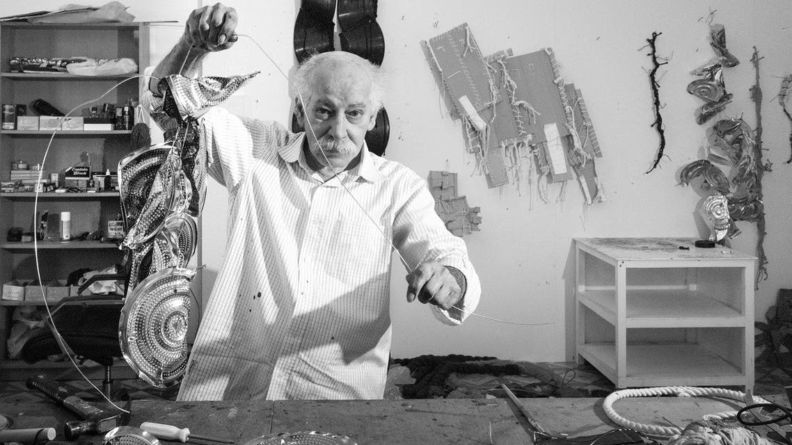 A pioneer of conceptual art and experimental practice in the Middle East, late Emirati artist Hassan Sharif seen in his studio. (Courtesy: Sharjah Art Foundation)