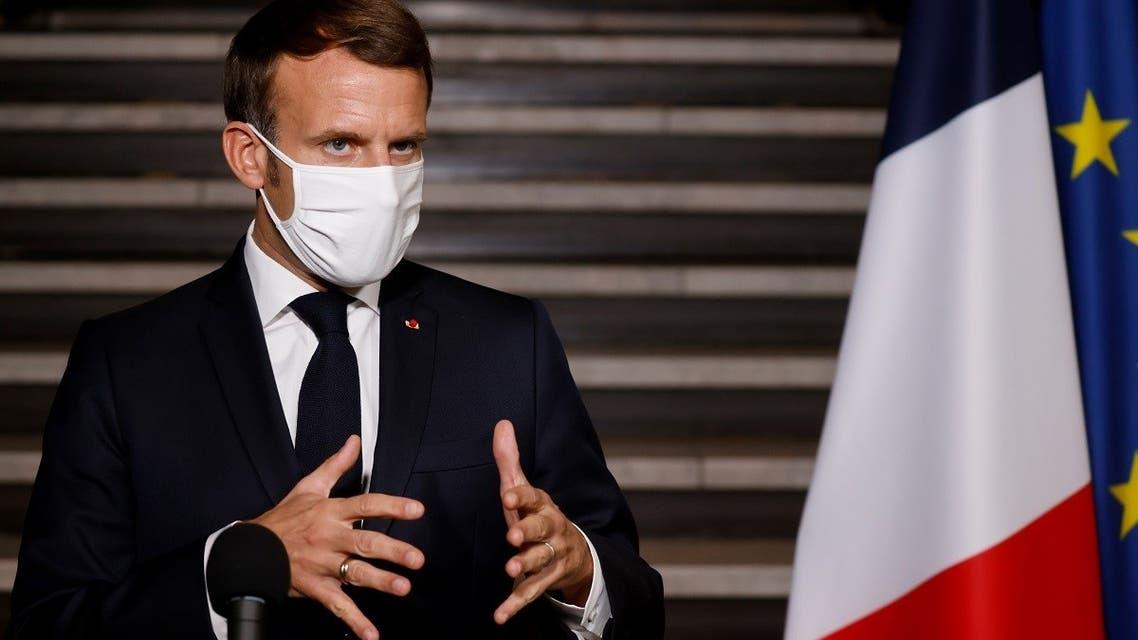 French President Emmanuel Macron speaks in Bobigny, near Paris, France Oct. 20, 2020. (Reuters)