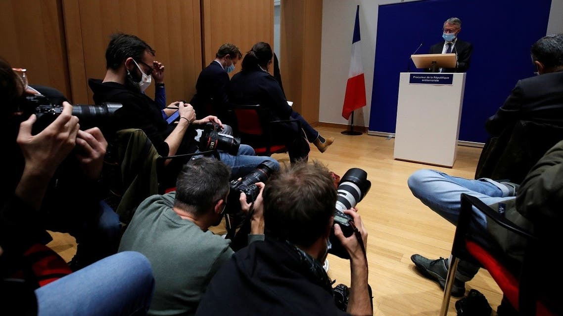 French anti-terrorism prosecutor Jean-Francois Ricard, speaks during a news conference on the latest in the investigation over the murder of the French teacher Samuel Paty, who was beheaded on the streets of the Paris suburb of Conflans-Sainte-Honorine, at the courthouse in Paris, France, October 21, 2020. (Reuters)