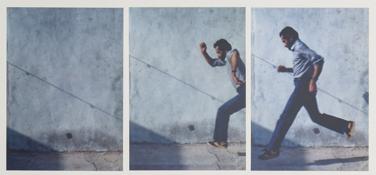 Hassan Sharif, Jumping No. 1 , 1983. 3 of 7 photographs. Collage: photographs, ink and pencil on mounting board. Photo - documentation of a performance in Dubai. (Supplied)