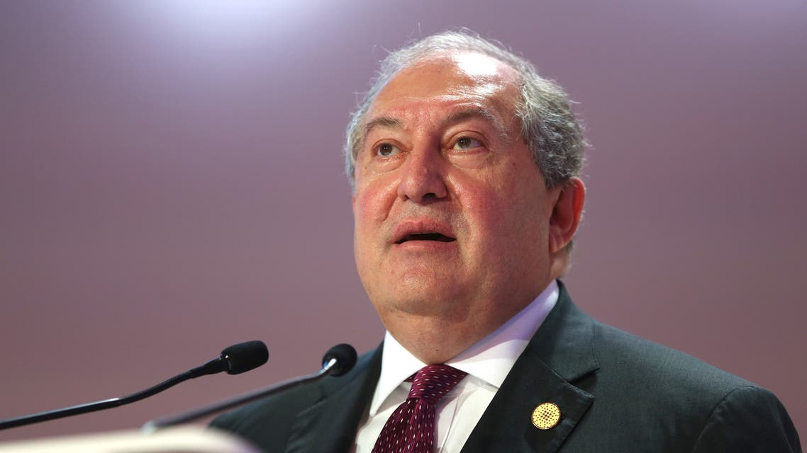 Armen Sarkissian, President of Armenian, attends the Doha Forum 2019 at the Sheraton Grand Doha Resort & Convention Hotel in Doha, Qatar, December 15th of 2019. (AFP)