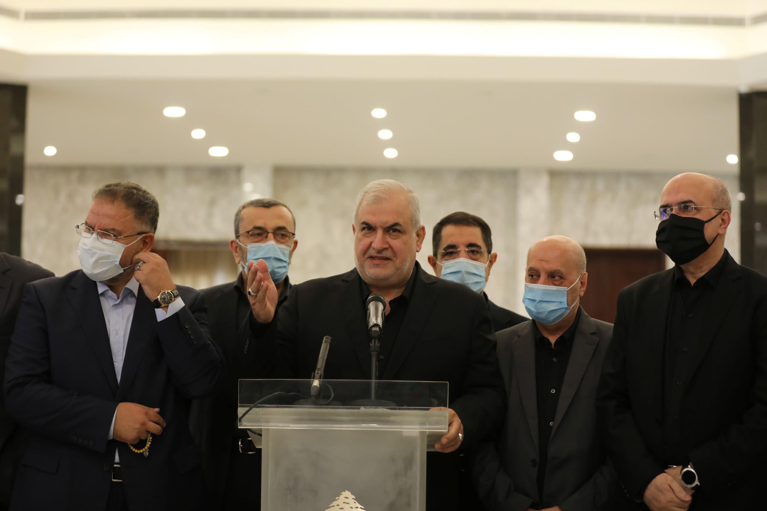 Head of Hezbollah's parliamentary bloc Mohamed Raad gestures as he speaks at the presidential palace in Baabda. (Reuters)