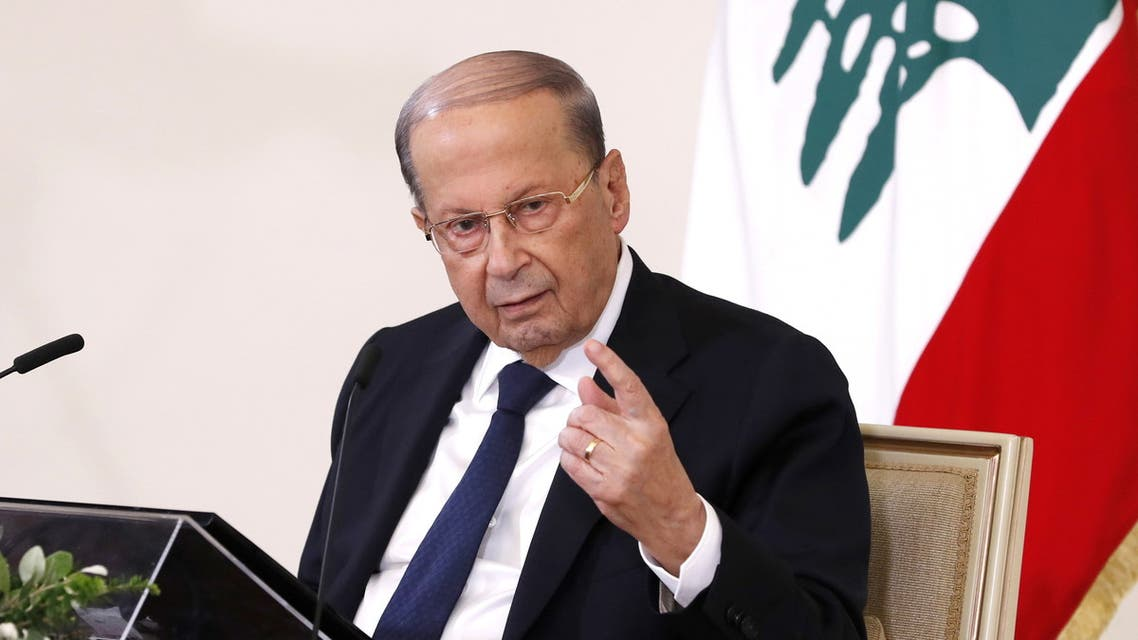 Lebanon's President Michel Aoun speaks during a news conference at the presidential palace in Baabda. (Reuters)