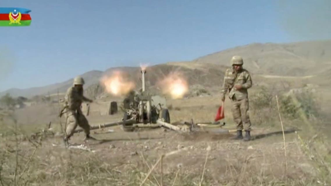 A still image shows Azeri artillery performing strikes during a military conflict over the breakaway region of Nagorno-Karabakh in Azerbaijan. (Reuters)