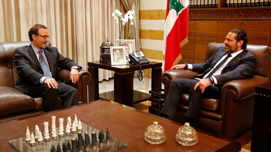 Saad Hariri meets with David Schenker, Assistant Secretary of State for Near Eastern Affairs, in Beirut, Sept. 9, 2019. (AP)