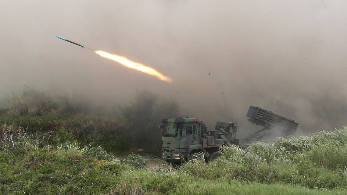 A rocket is fired from a Thunderbolt 2000 multi-rocket launcher during the 36th Han Kung military exercises in Taichung City, central Taiwan. (AP)