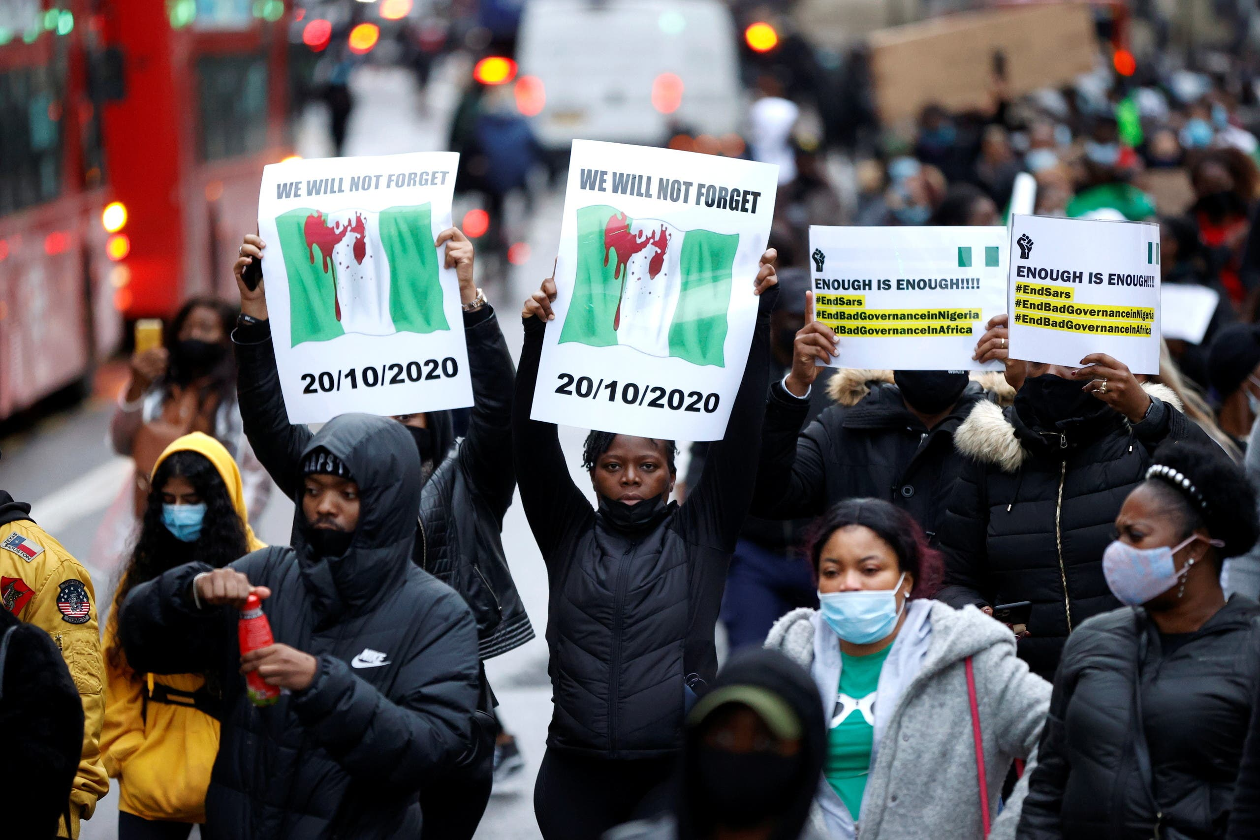 People protest outside the Nigerian High Commission in London. (Reuters)