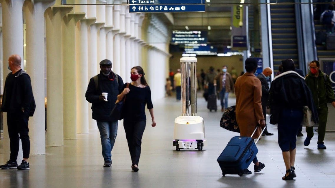 An ultraviolet (UV) robot designed to significantly reduce the risk of hospital acquired infections cleans St Pancras International station, amid the coronavirus disease outbreak in London, Britain. (Reuters)