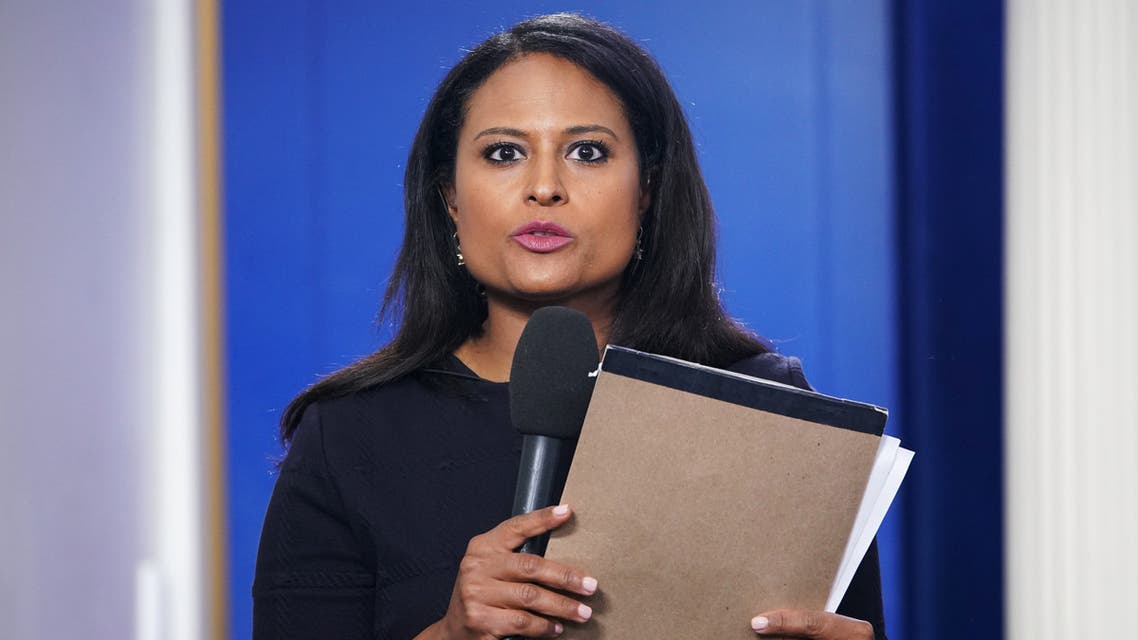 NBC White House correspondent Kristen Welker is seen before a briefing by White House Press Secretary Sarah Sanders in the Brady Briefing Room of the White House in Washington, DC on October 3, 2018.
