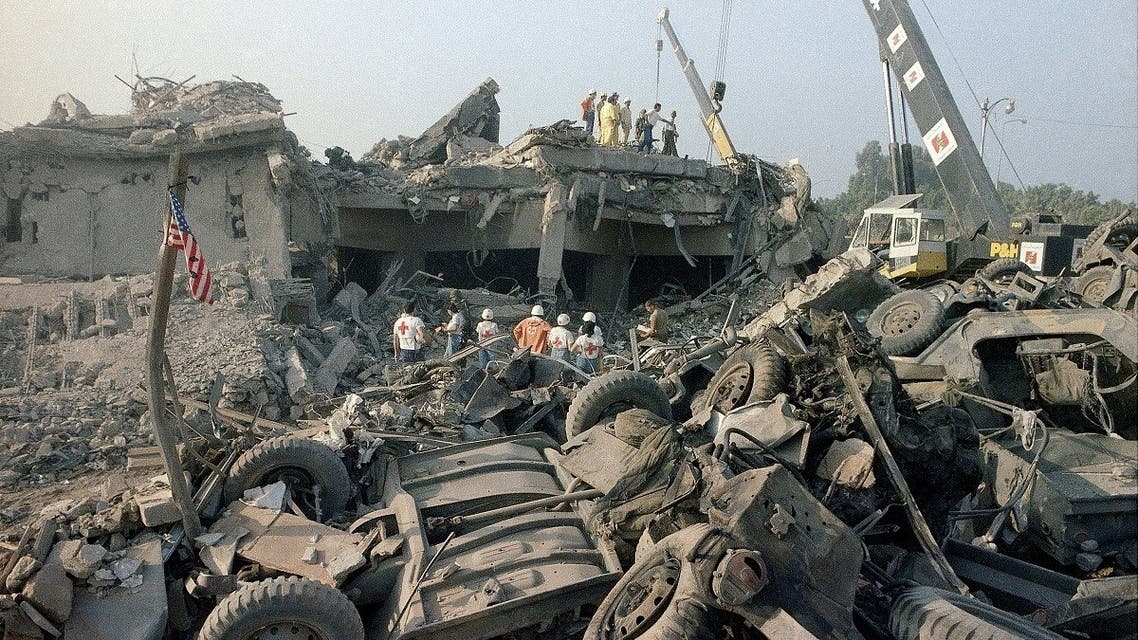 The aftermath of a suicide truck bombing of the US Marines Barracks in Beirut, Oct. 23, 1983. (AP)