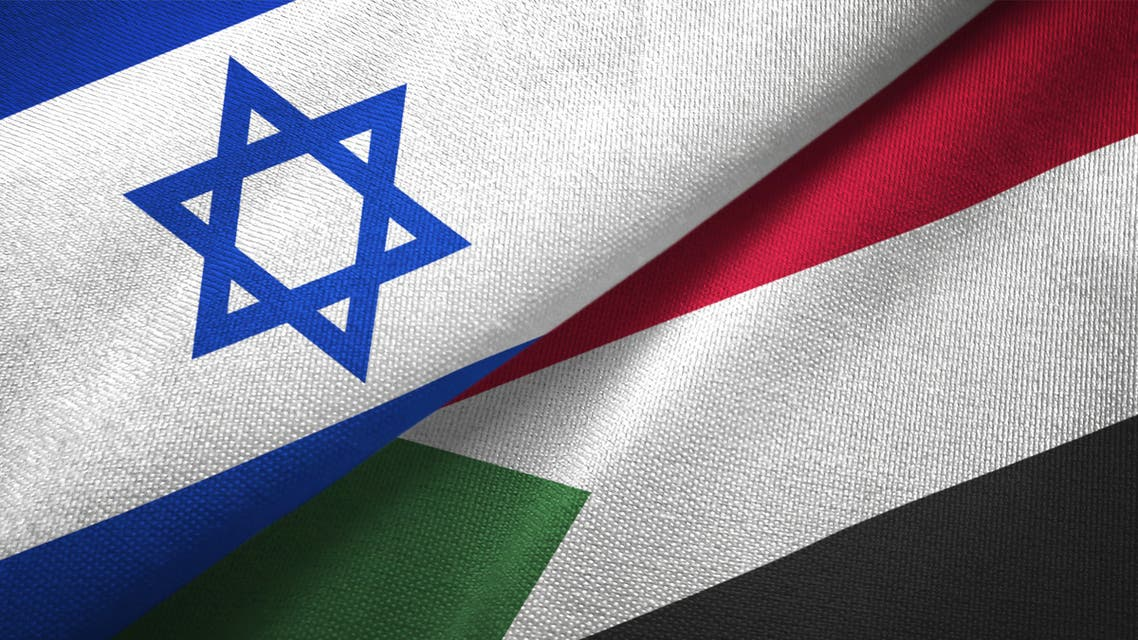 Sudan and Israel two flags together textile cloth, fabric texture stock photo