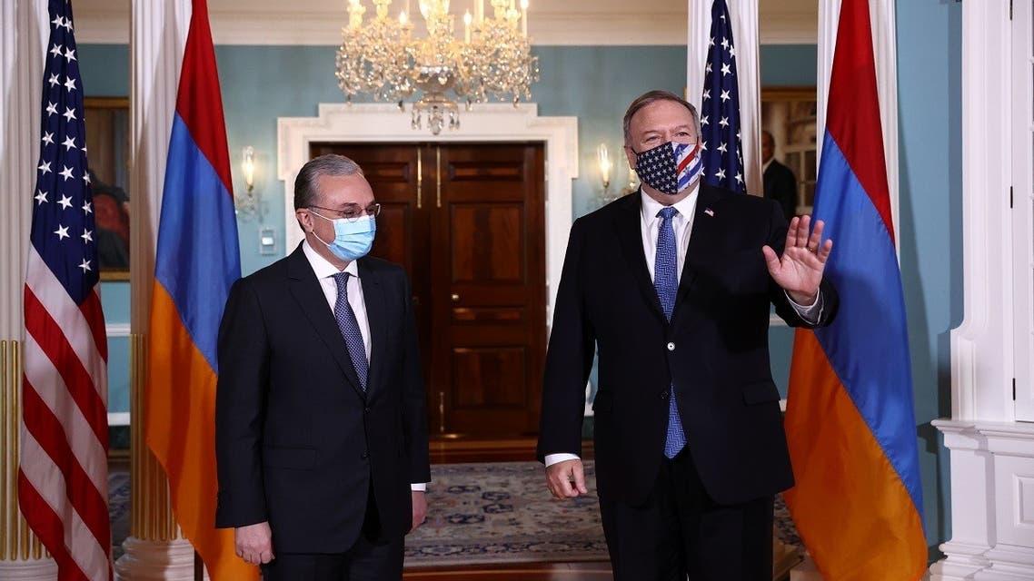 Armenian FM Zohrab Mnatsakanyan with Secretary of State Mike Pompeo in Washington, Oct. 23, 2020. (Reuters)