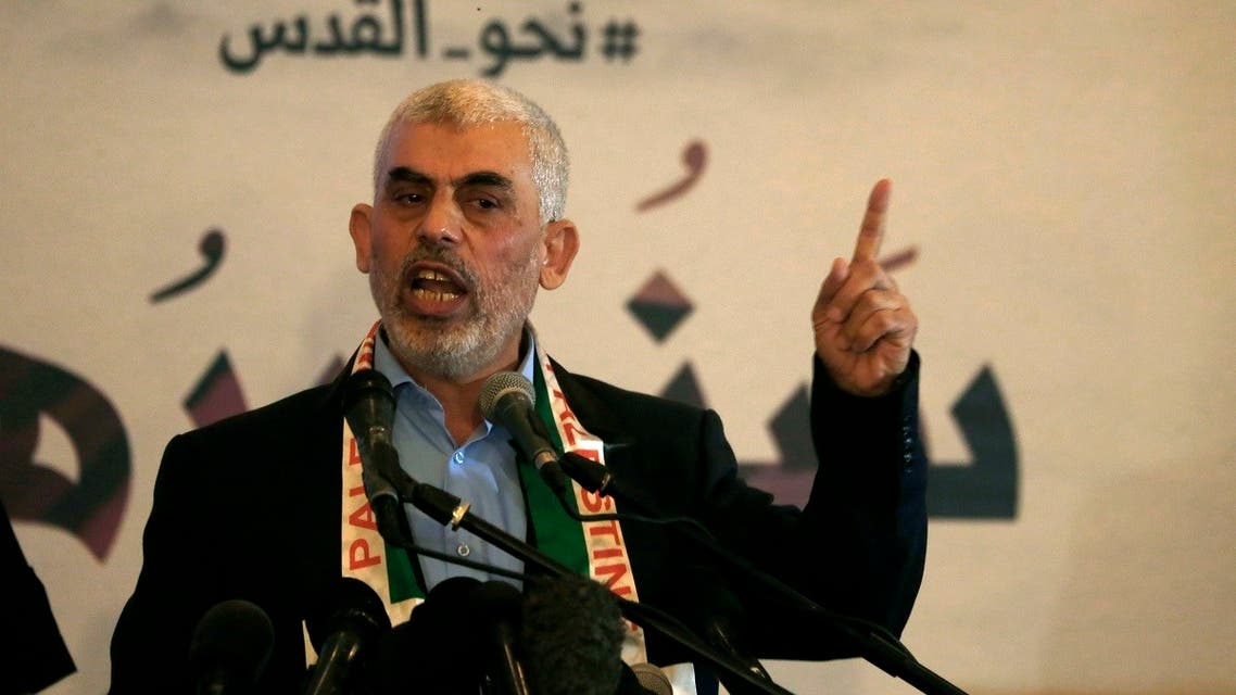 Hamas' leader in the Gaza Strip Yahya Sinwar speaks during a press conference for Quds (Jerusalem) day in Gaza City. (AFP)