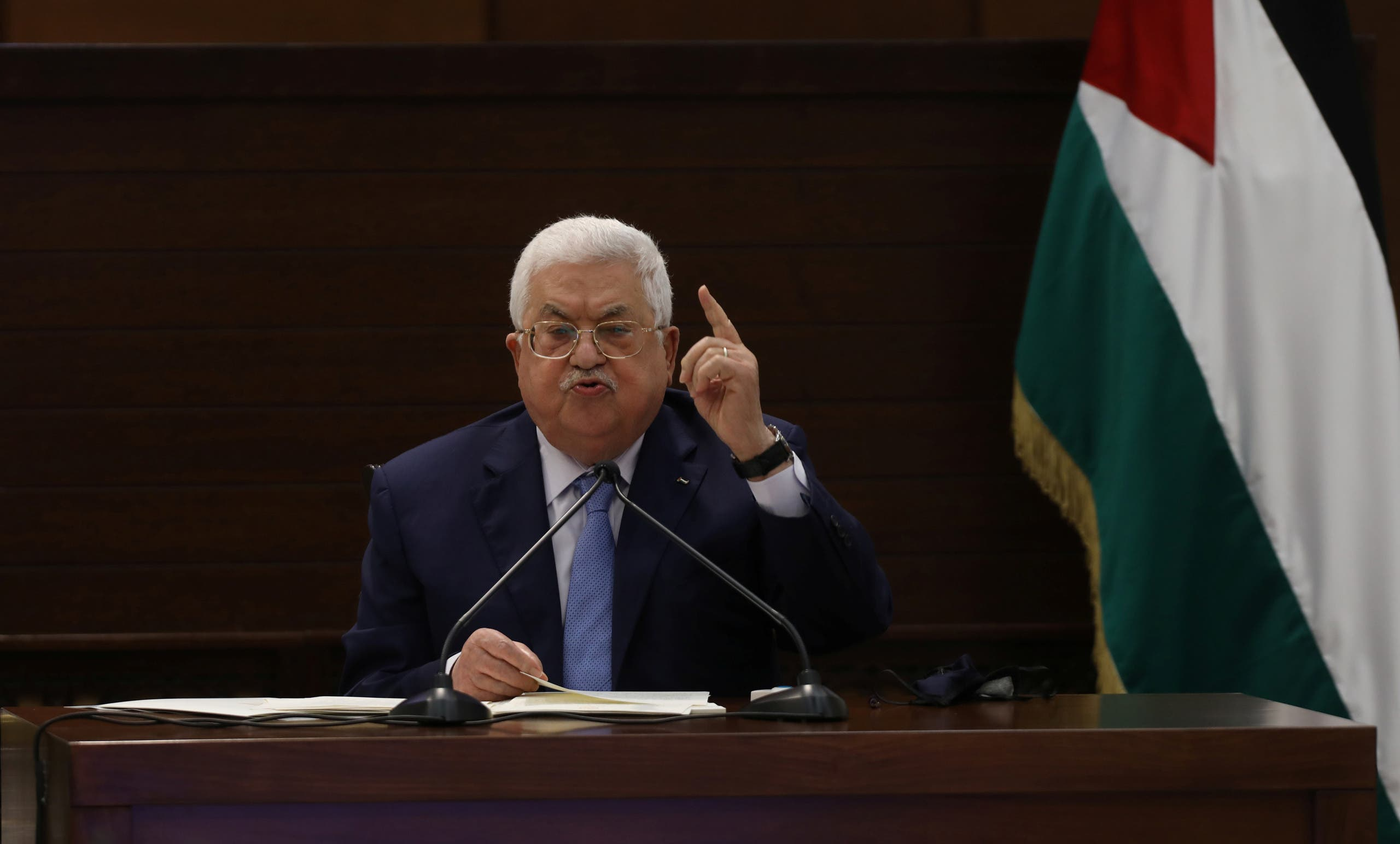 Palestinian President Mahmoud Abbas attends a virtual meeting with Palestinian factions over Israel and the United Arab Emirates' deal to normalise ties, in Ramallah in the Israeli-occupied West Bank September 3, 2020. (Reuters)