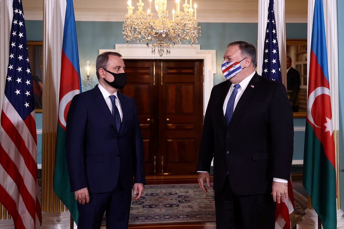 Azerbaijan's FM Jeyhun Bayramov meets with Secretary of State Mike Pompeo at the State Department, Oct. 23, 2020. (Reuters)