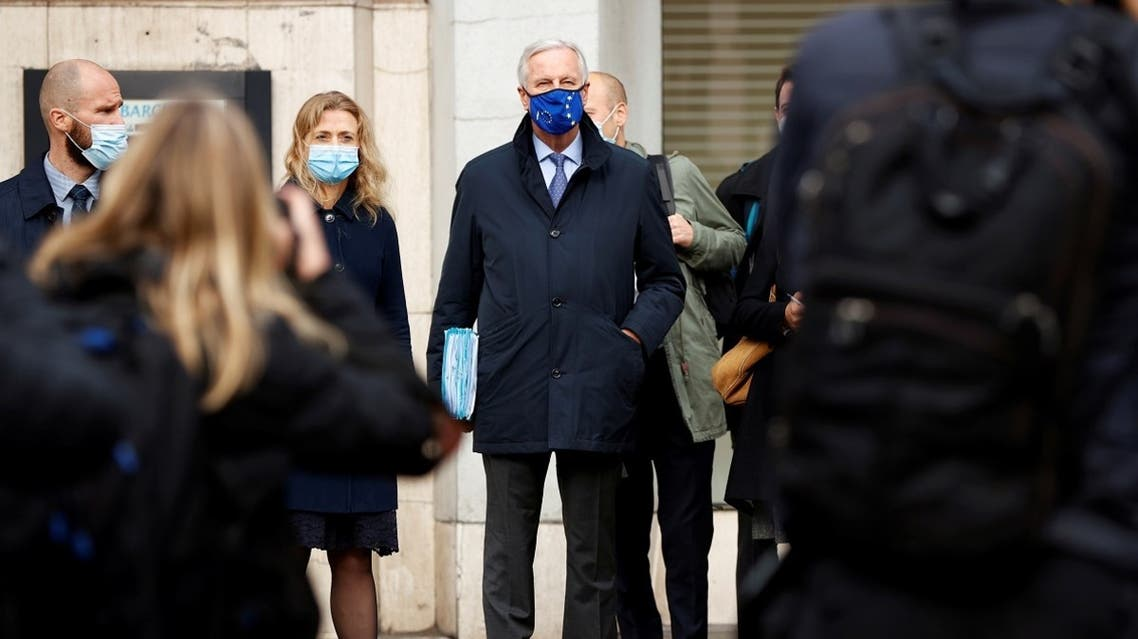 2020-10-23T124European Union's Brexit negotiator Michel Barnier wears a protective face mask as he arrives at 1VS conference centre ahead of Brexit negotiations in London, Britain, on October 23, 2020. (Reuters)751Z_1770599910_RC2AOJ9NKZDZ_RTRMADP_3_BRITAIN-EU