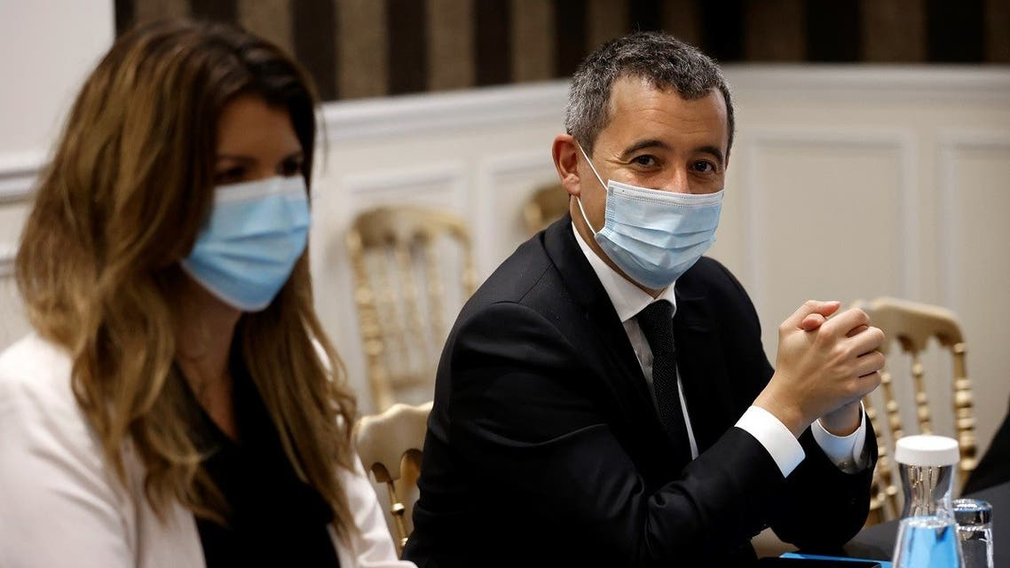 French Interior Minister Gerald Darmanin (R) and French Junior Minister of Citizenship Marlene Schiappa attend a meeting on October 5, 2020, at the Interior ministry in Paris. (Thomas Coex /Pool /AFP)