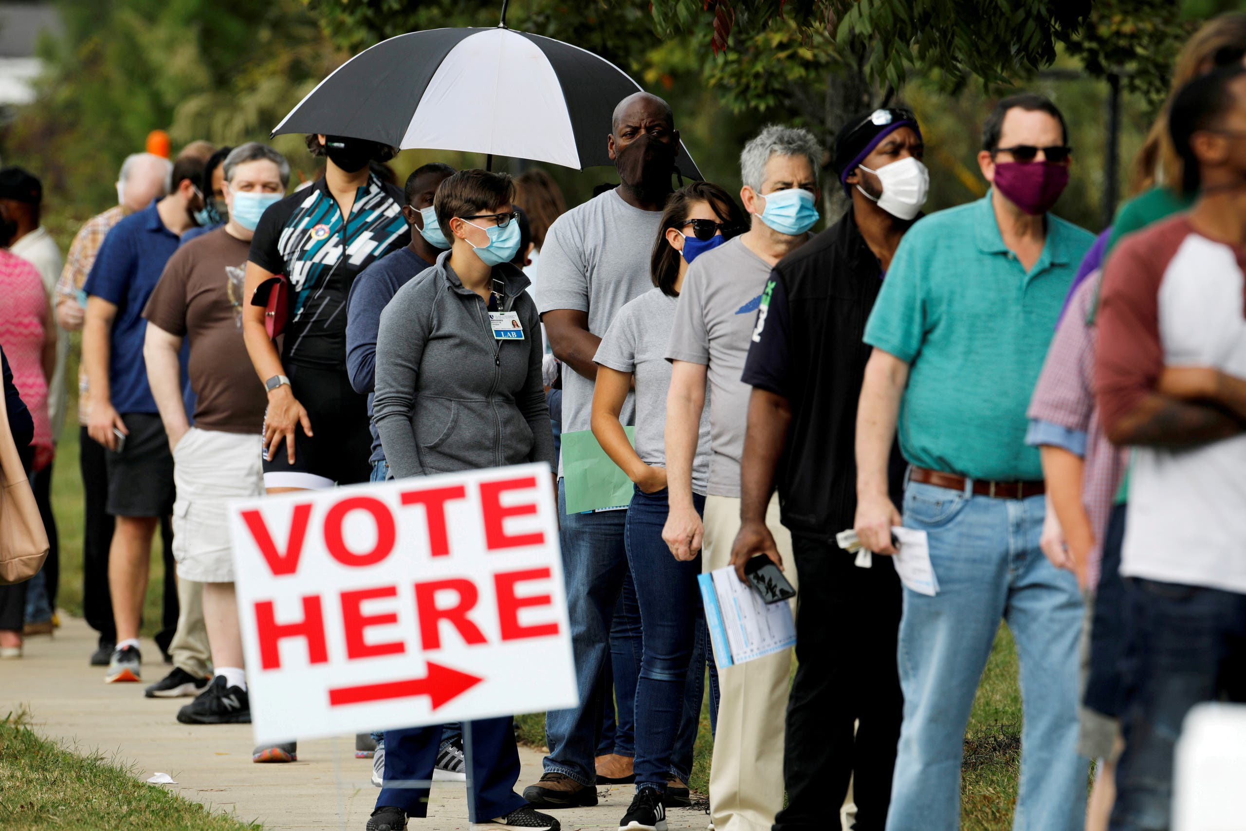 First day of in-person early voting for the general elections in Durham, North Carolina. (Reuters)