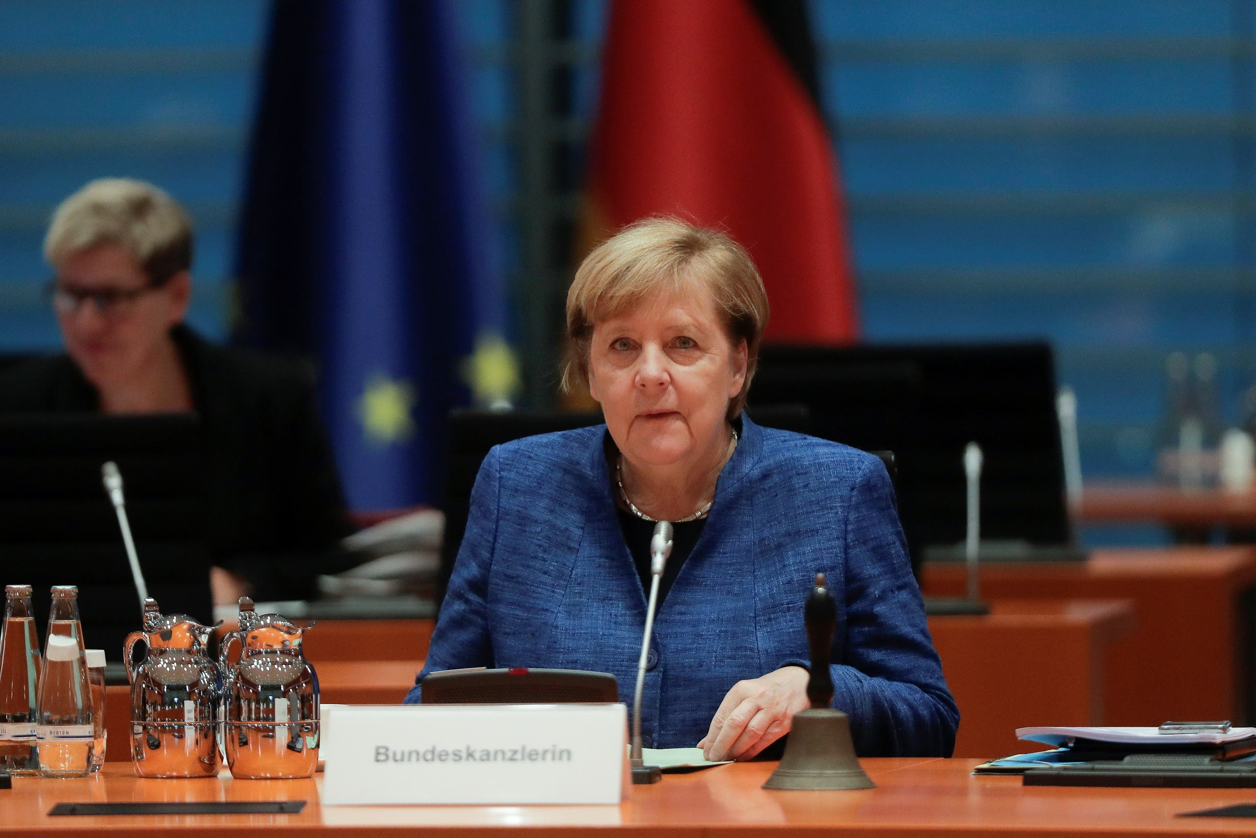 German Chancellor Angela Merkel arrives for the weekly cabinet meeting of the government at the chancellery in Berlin, Germany. (Reuters)