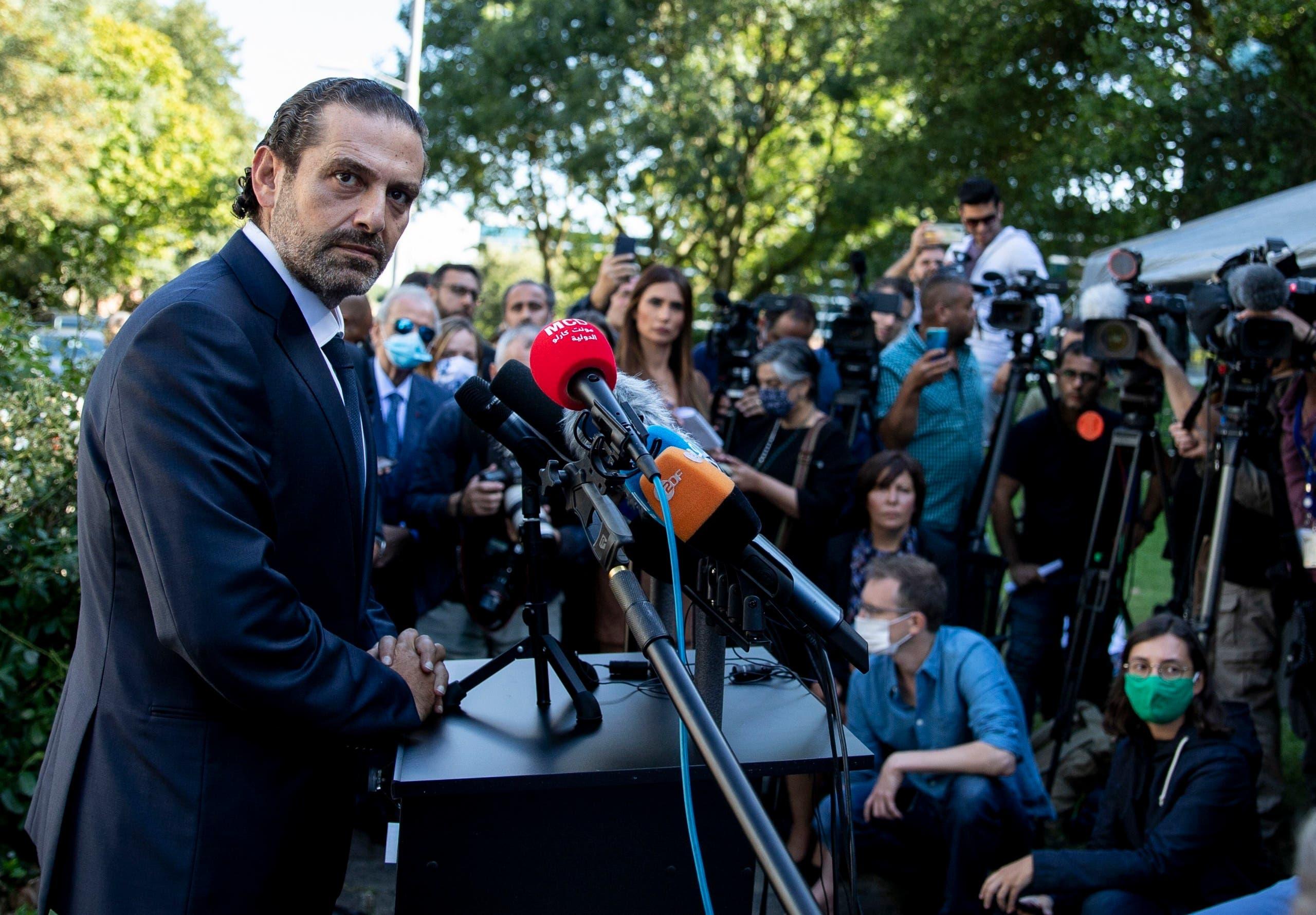 Former Lebanese Prime Minister Saad Hariri addresses the media on Aug. 18, 2020. (AP)