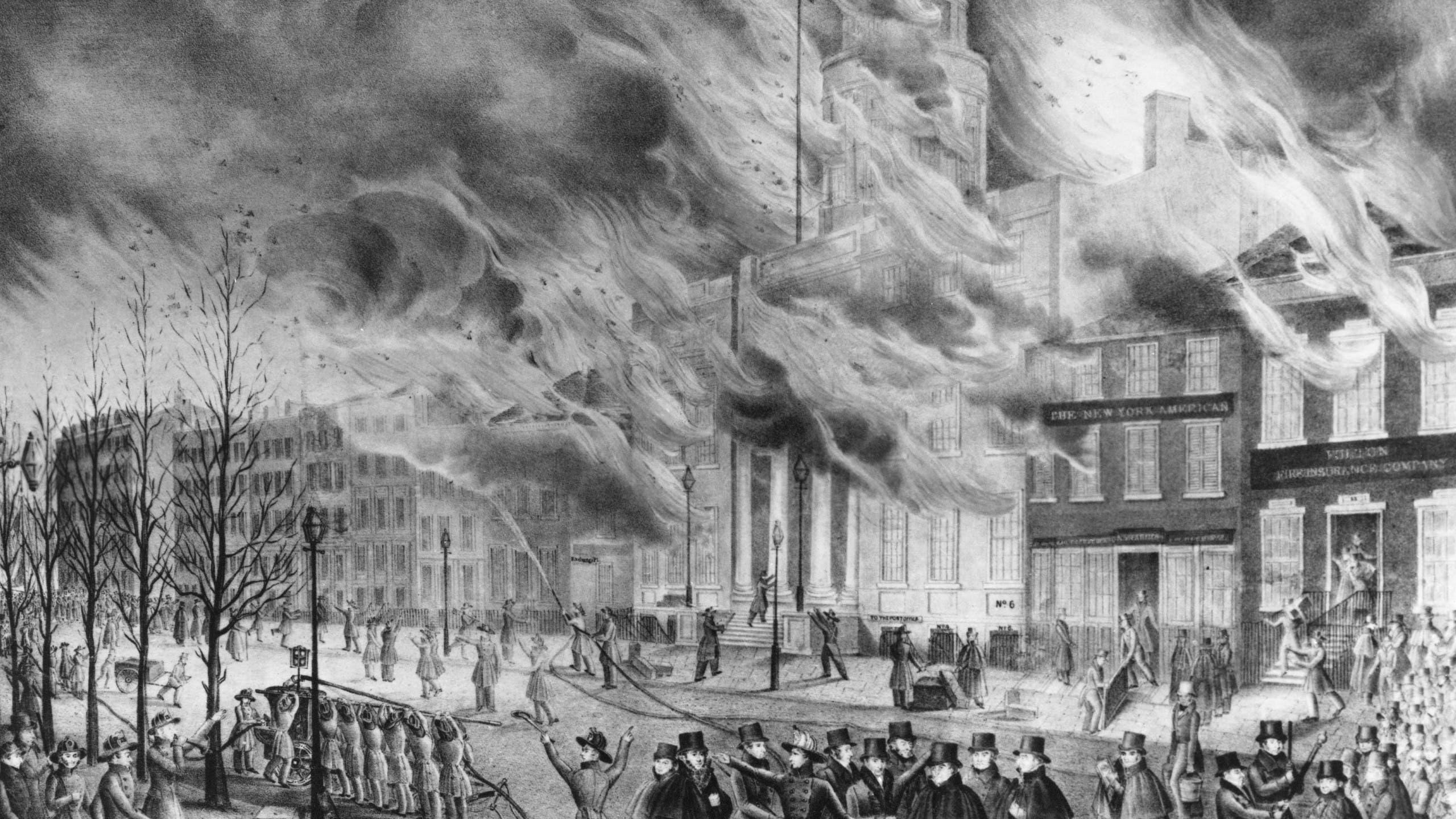 لوحة تجسد أحد الحرائق بنيويورك