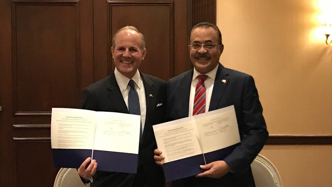 United States Special Envoy to Monitor and Combat Anti-Semitism Elan Carr, left, with Chairman of the King Hamad Global Center Dr. Shaikh Khalid bin Khalifa Al Khalifa. (Twitter)
