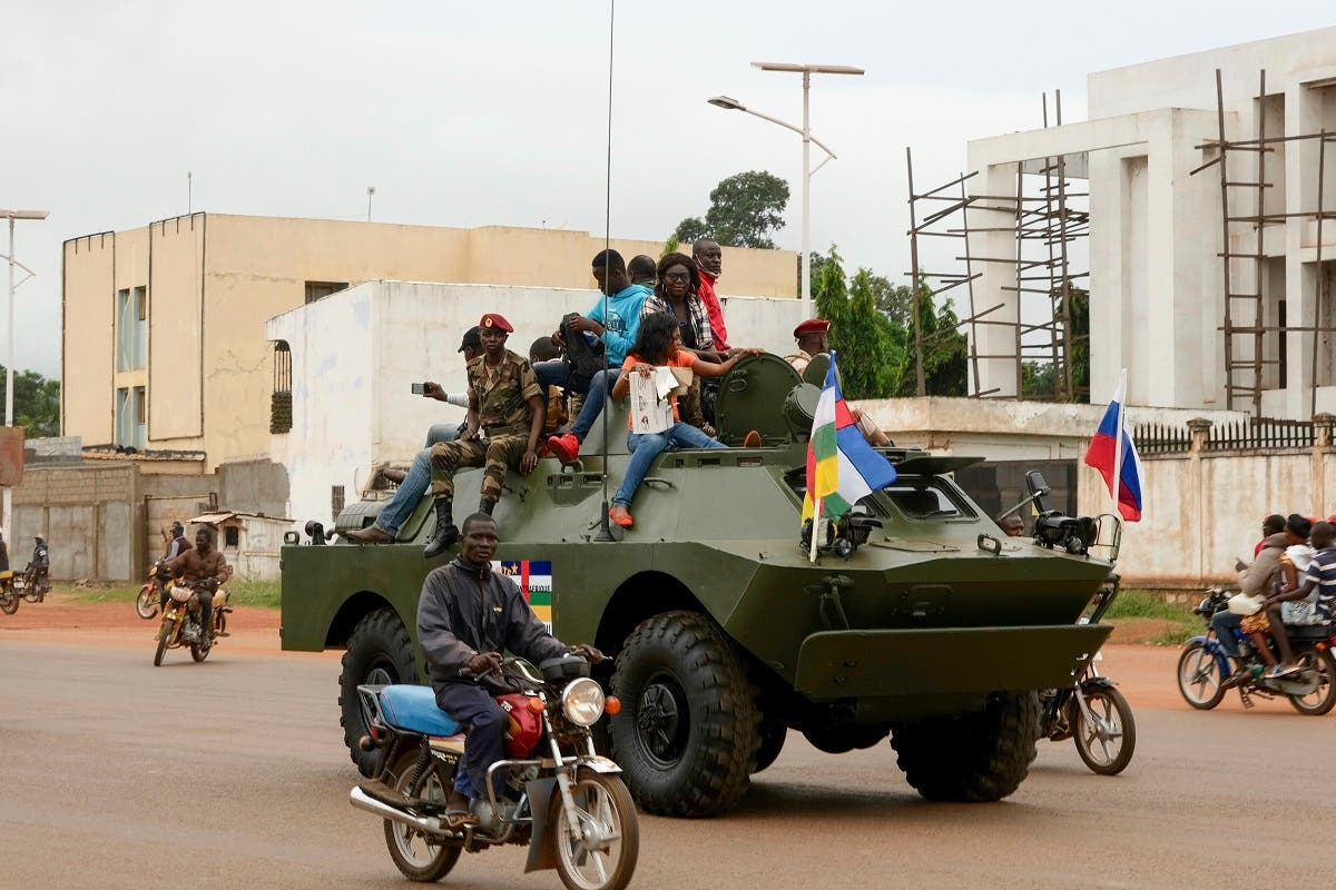 A Russian armored personnel carrier (APC) is seen driving in the street during the delivery of armored vehicles to the Central African Republic army in Bangui, October 15, 2020. (AFP)