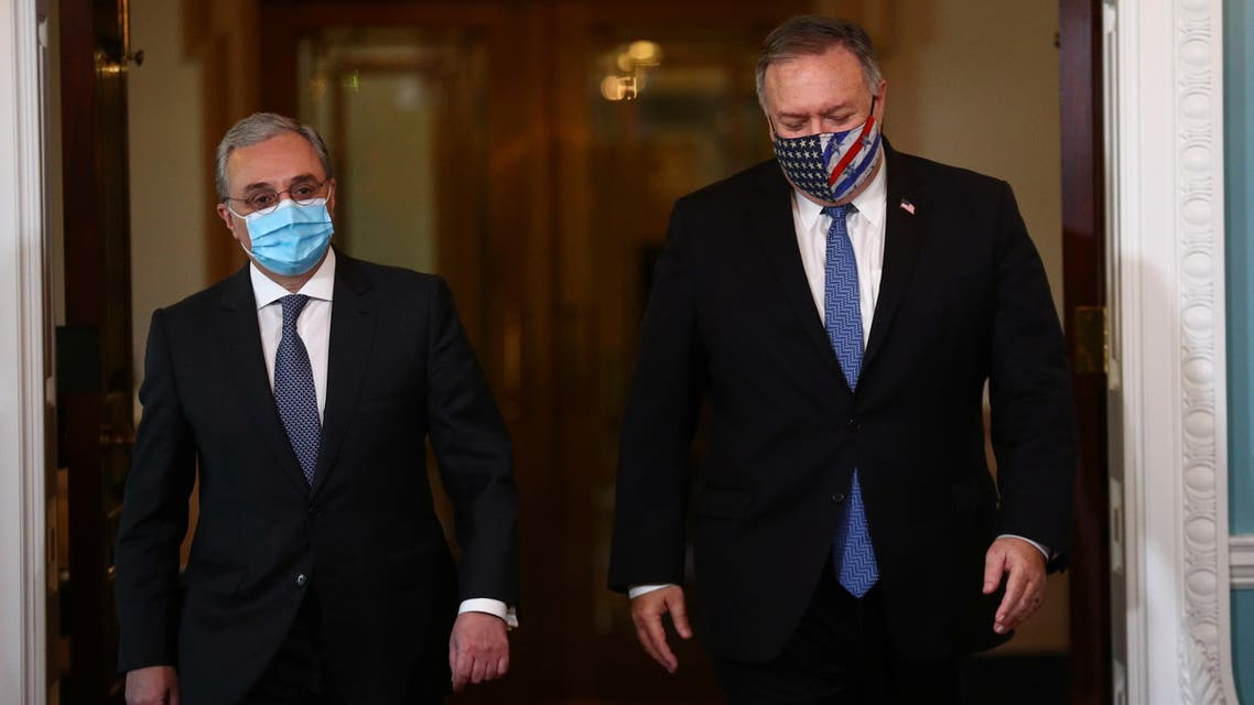 Armenia?s Foreign Minister Zohrab Mnatsakanyan meets with U.S. Secretary of State Mike Pompeo to discuss the conflict in Nagorno-Karabakh, at the State Department in Washington, U.S., October 23, 2020. REUTERS/Hannah McKay/Pool