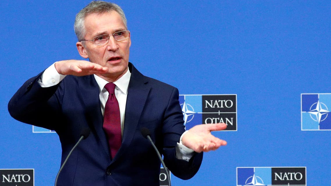 NATO Secretary General Jens Stoltenberg gestures as he holds a news conference ahead of a NATO defence ministers meeting at the Alliance headquarters in Brussels, Belgium February 11, 2020. REUTERS/Francois Lenoir